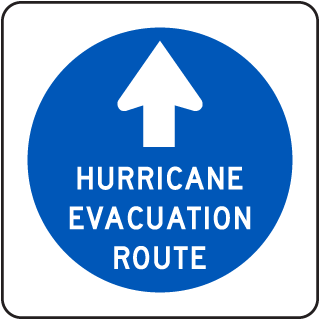 Hurricane Evacuation Route Sign with up arrow