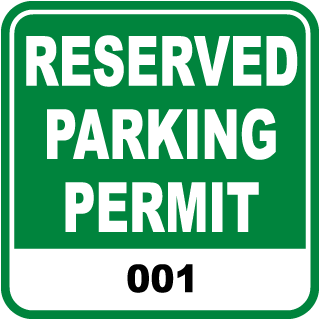 Reserved Parking Permit Label