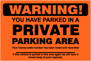 Warning! You Have Parked In A Private Area.. Parking Violation Ticket