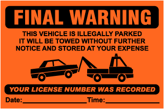 Final Warning This Vehicle Is Illegally Parked.. Parking Violation Ticket