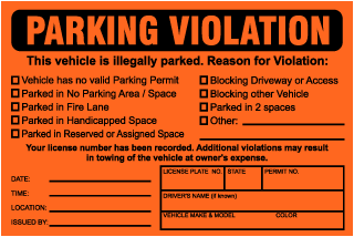 Parking Violation This vehicle is illegally parked.. Parking Violation Ticket