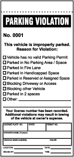 Parking Violation This vehicle is improperly parked.. Parking Violation Ticket