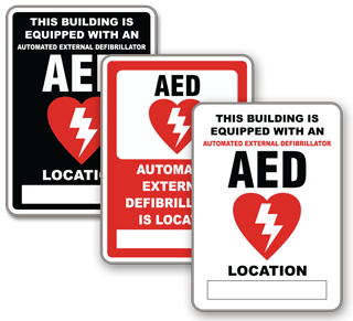 Custom automated external defibrillator signs