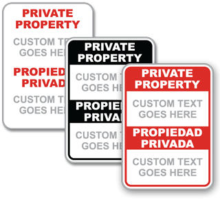Custom Bilingual Private Property Sign
