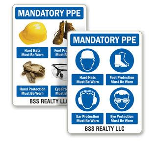 G2460-Custom Mandatory PPE Sign, Personal Protection Mandatory Sign