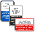 Custom Tow away Vehicle Signs