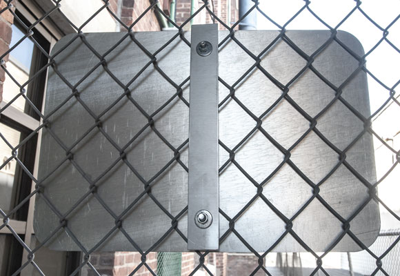 12, 18, 24 inch chain link fence brackets used to mount parking signs