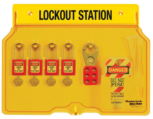 Master Lock Wall-Mount Filled Lockout Station with 4 Padlocks 1482BP410 C3021