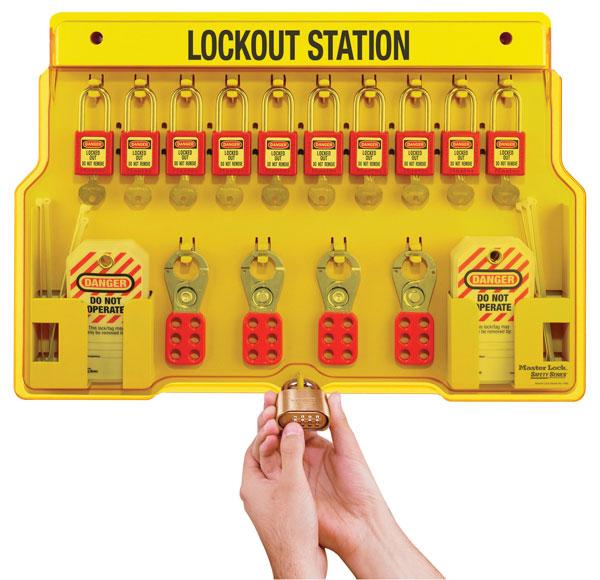 Master Lock Wall-Mount Filled Lockout Station with 10 Padlocks 1483BP410 C30220