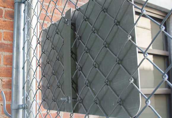 Back-view of the chain-link fence brackets