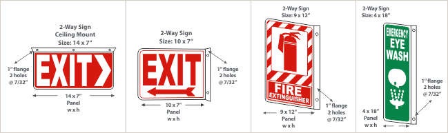 Examples of 2-Way Projecting Wall Sign Configurations