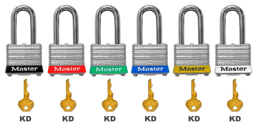 Master Lock Red Keyed Alike Steel Padlock 3KARED