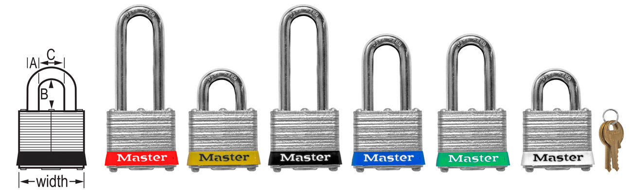 Master Lock Keyed Different Steel Padlocks 3RED C3821