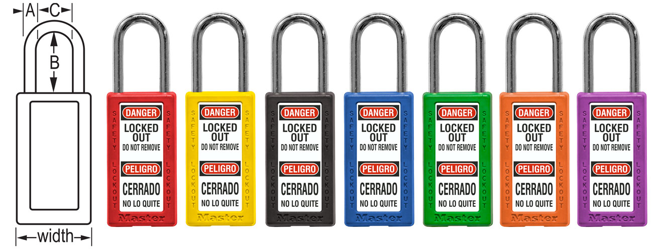 Bilingual Keyed Alike Safety Padlock 411RED C3879