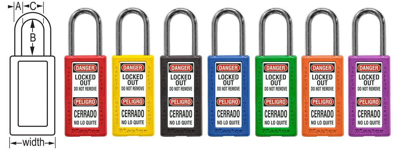 Bilingual Keyed Alike Safety Padlock 411RED C3879