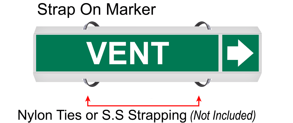 System 4 strap on pipe marker
