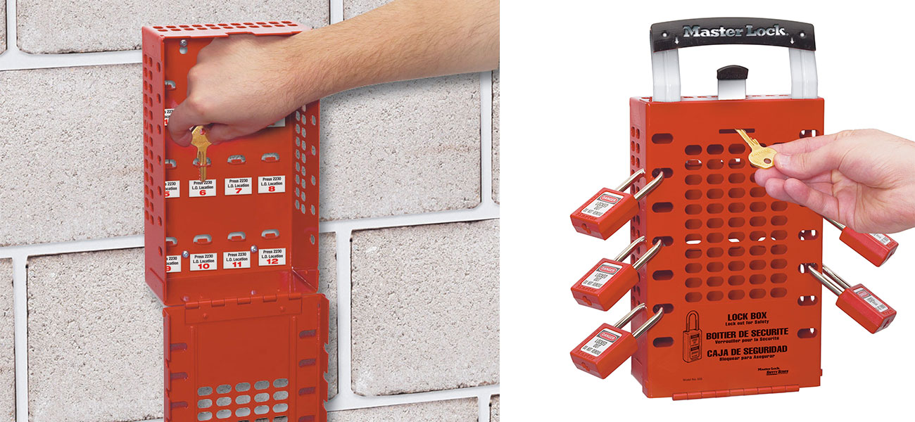 Master Lock Wall Mount or Portable Group Lock Out Box 503RED C3110