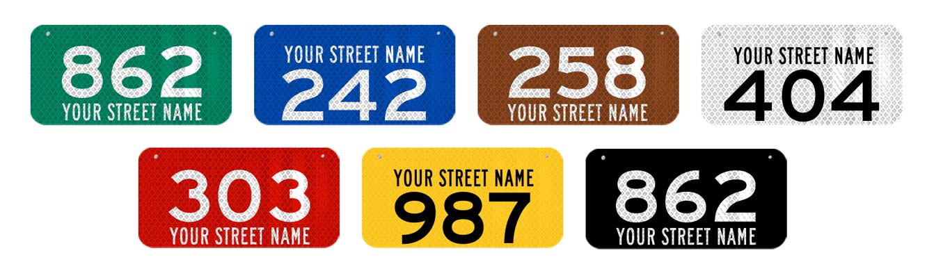 911 Address Signs colors we offer.