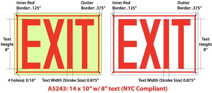 NYC Compliant EXIT Sign