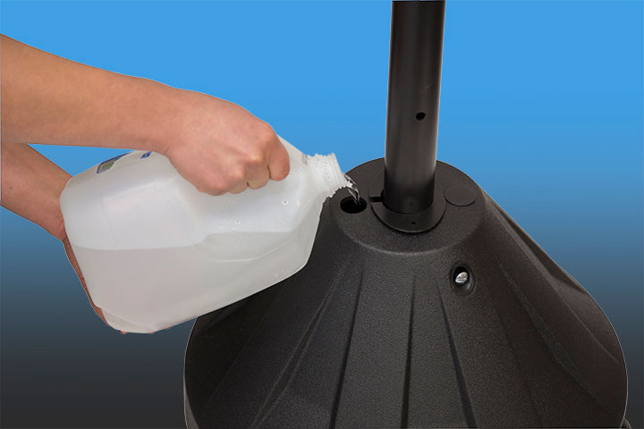 Fill with water or sand for stability in winds up to 30-40 MPH