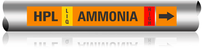 Illust. of Ammonia Marker for Pipe OD of 2.5 to 6 inches