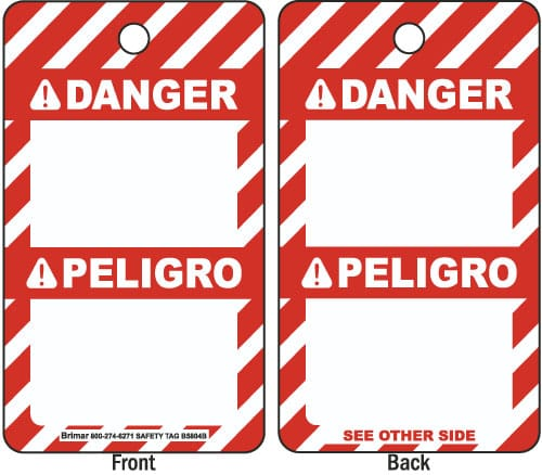 ANSI Z535 Bilingual Danger Tag