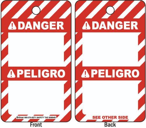 ANSI Z535 Bilingual Danger Tag