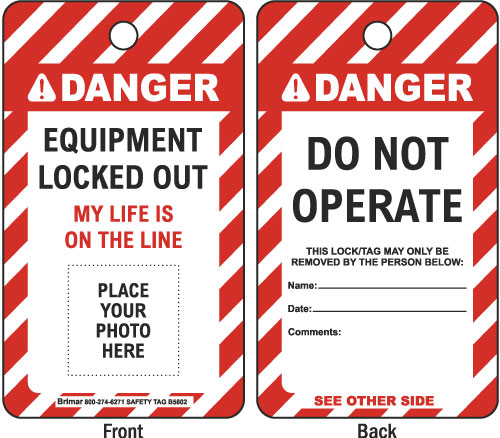 Danger Do Not Operate Photo Lockout Tag