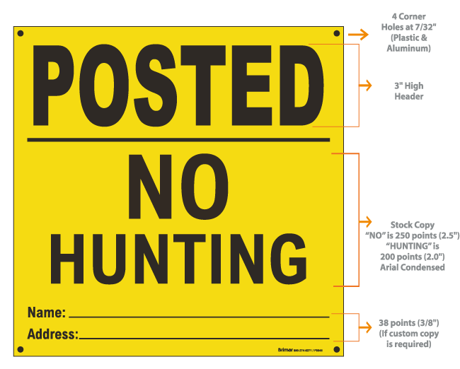 Yellow Posted Sign, Private Property