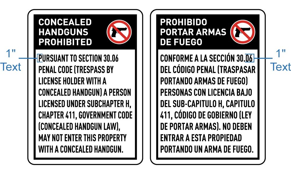 Texas 30.06 No Concealed Handgun Sign