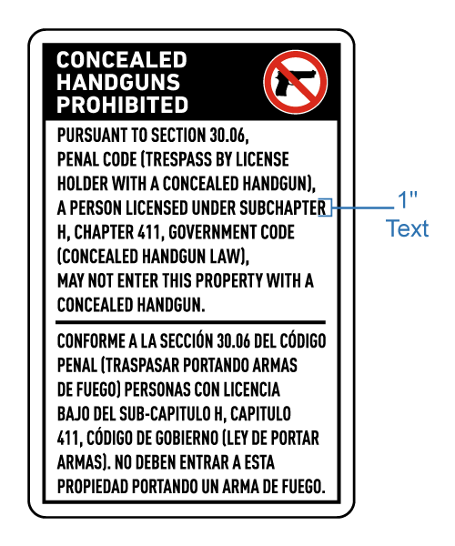 Texas 30.06 Bilingual Concealed Handguns Prohibited Sign