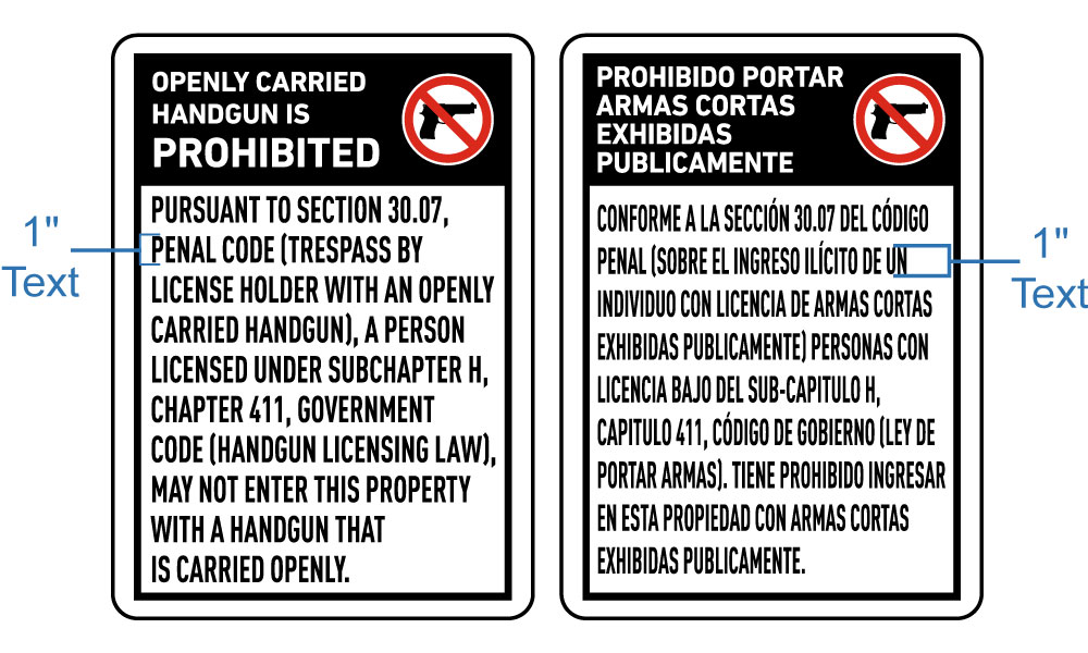 Texas 30.07 No Openly Carried Handguns Sign