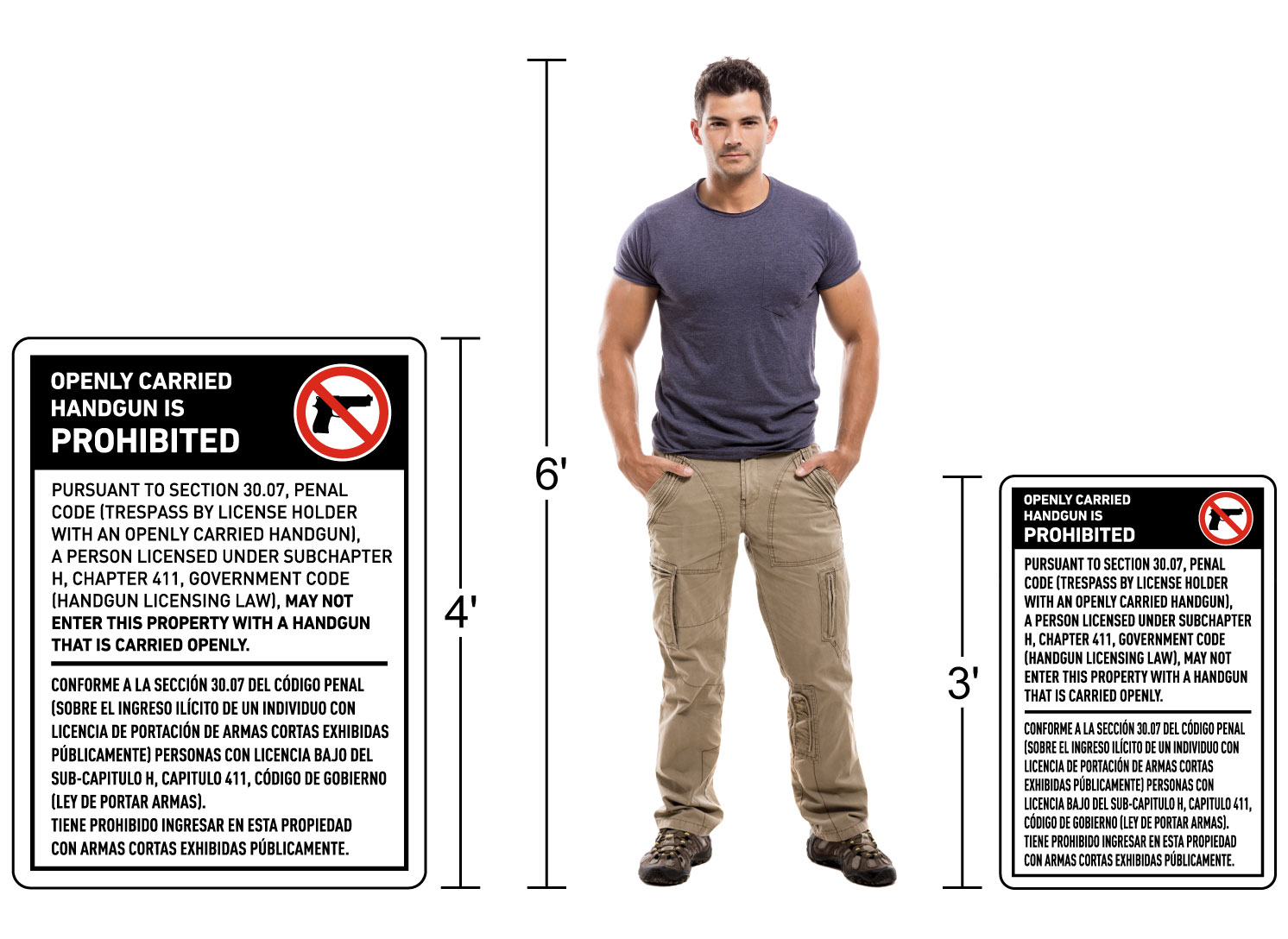 Bilingual Texas 30.07 No Openly Carried Handguns Sign Size Reference