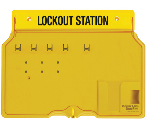 Master Lock Wall-Mount Empty Lockout Station For 4 Padlocks 1482B C3020