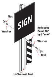 U-channel Post Reflective Panel