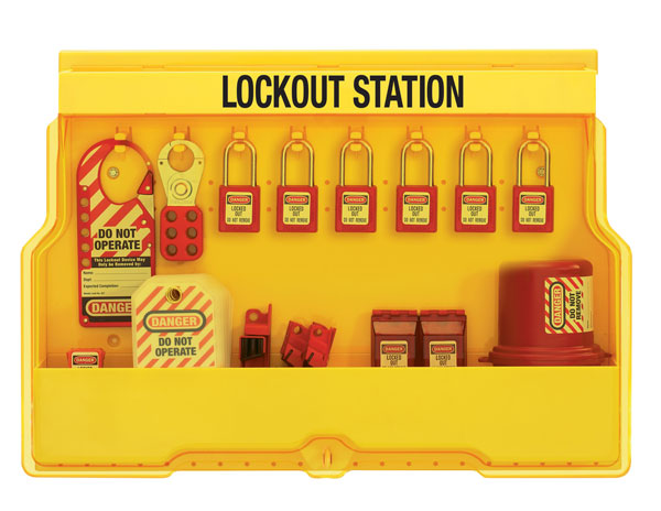 Master Lock Wall-Mount Filled Electrical Lockout Station with 6 Padlocks S1850E410 C3023
