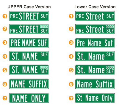 SafetySign.com Stree Name Sign Layouts