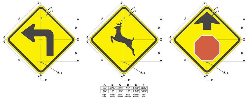 Yellow Warning Traffic Signs Configuration