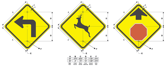 Yellow Warning Traffic Signs Configuration