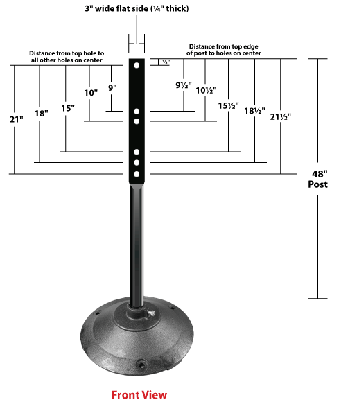 Black Sign Stand with hole locations