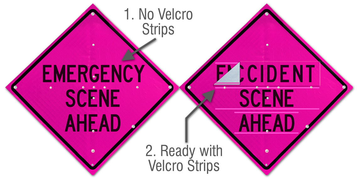 Sign face ready with velcro strips