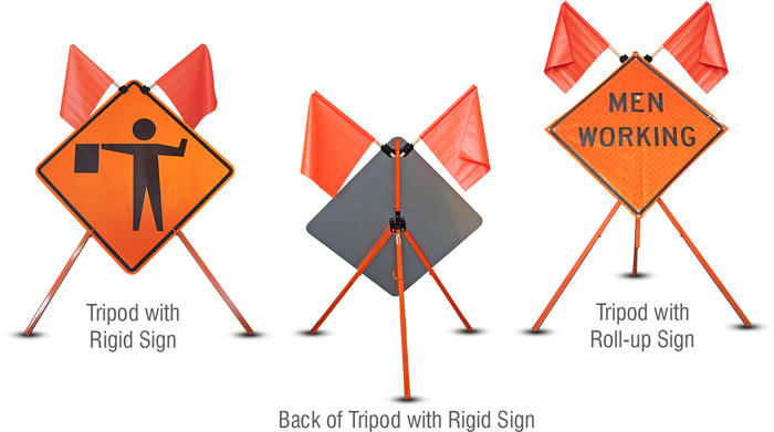Tripod stand with roll-up and rigid signs