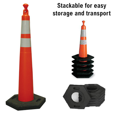 Orange Cone With Reflective Bands