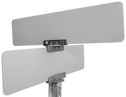 Mounted universal street name bracket at 45 degree angle