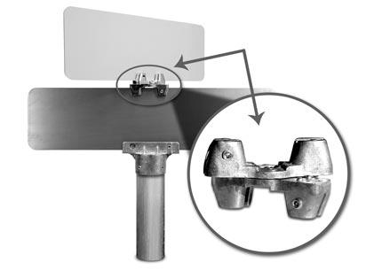universal bracket mounted on flat blade