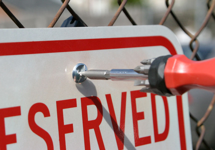 Use SafetySign.com R4965 screwdriver to install 1 inch fence brackets