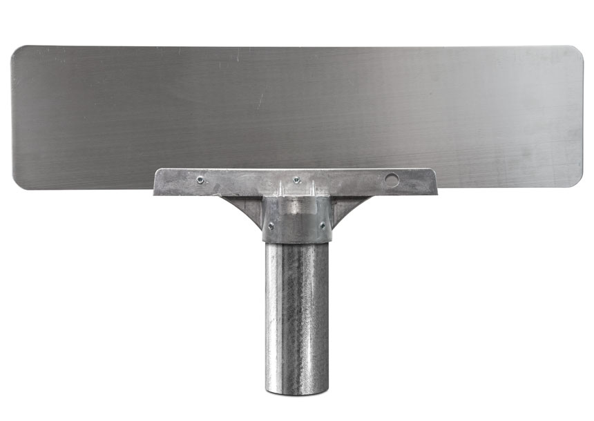 12 inch round post bracket mounted with flat blade street name sign