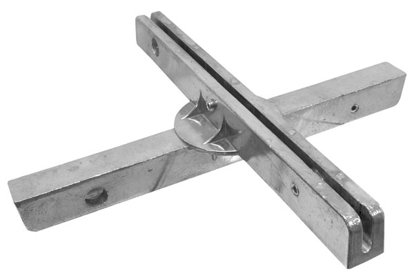 """Top view of the 12"""" fixed cross separator street name sign bracket"""