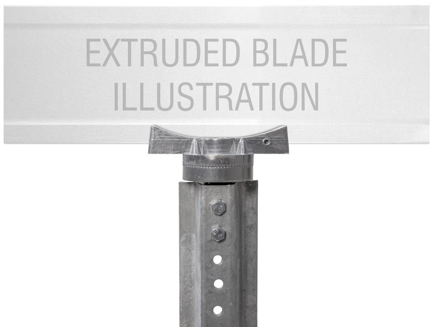 "Extruded blade street name sign mounted on 5.5"" u-channel post street name bracket"