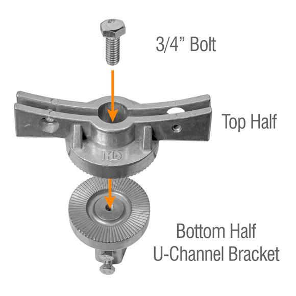 Illustrating the assembly of the adjustable u-channel post bracket